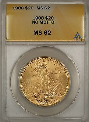 1908 No Motto $20 St. Gaudens Double Eagle Gold Coin ANACS MS-62 BP