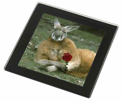 Kangaroo with Red Rose Black Rim Glass Coaster Animal Breed Gift, AK-1RGC