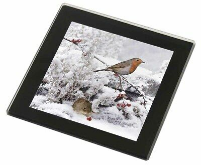 Snow Mouse and Robin Print Black Rim Glass Coaster Animal Breed Gift, AMO-5GC