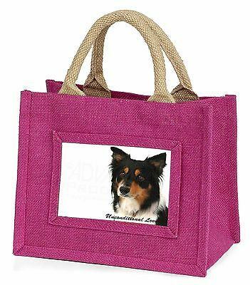 Tri-Colour Border Collie-Love Little Girls Small Pink Shopping Bag , AD-CO33uBMP