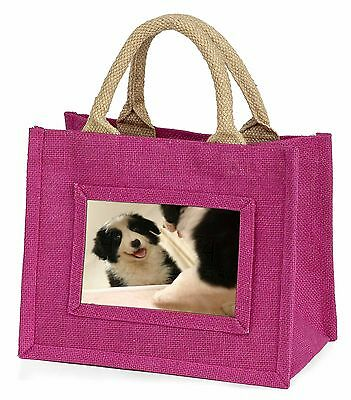 Border Collie in Mirror Little Girls Small Pink Shopping Bag Christm, AD-CO39BMP