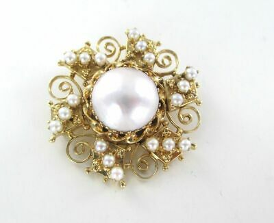 990046030 14K Solid Yellow Gold Pendant Pearl Pin Brooch Vintage  Fine Jewelry