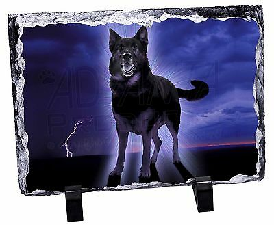 German Shepherd with Red Rose Photo Slate Christmas Gift Ornament AD-GS1R2SL