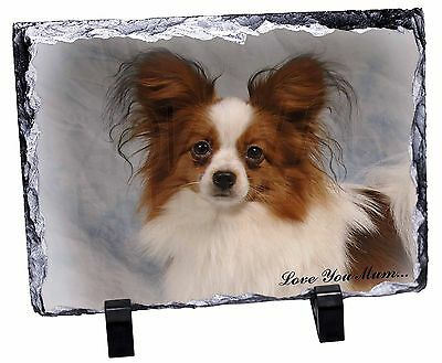 Papillon Dog 'Love You Mum' Photo Slate Christmas Gift Ornament, AD-PA1lymSL