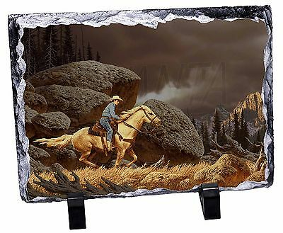 Horse Riding Cowboy Photo Slate Christmas Gift Ornament, AHC-1SL