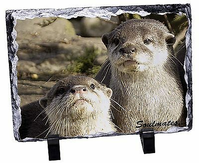 Cute Otters 'Soulmates' Photo Slate Christmas Gift Ornament, SOUL-72SL