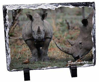 Two Rhino's in Love 'Soulmates' Photo Slate Christmas Gift Ornament, SOUL-77SL