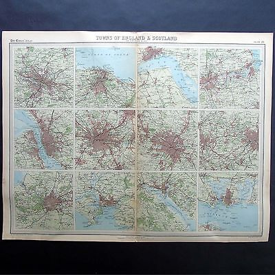 Towns of England & Scotland - Genuine 1922 Vintage Map by Bartholomew