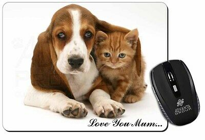 Basset and Cat 'Love You Mum' Computer Mouse Mat Christmas Gift Idea, AD-BH1lymM
