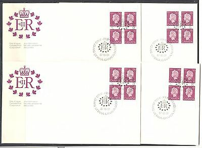 QUEEN ELIZABETH II DEFINITIVE 36c PURPLE CANADA 1987 Sc 926A, 4 Pl Bl on 4 FDC's