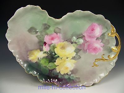 Beautiful Limoges Hand Painted Roses Kidney Shaped Dresser Tray Artist Signed