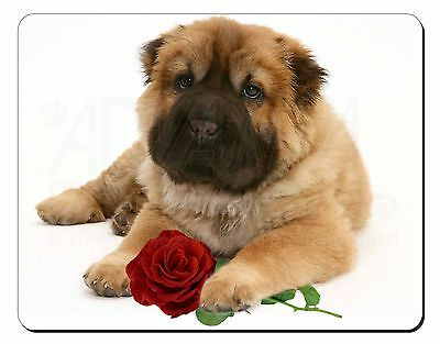 Shar Pei Dog with Red Rose Computer Mouse Mat Christmas Gift Idea, AD-SH2RM