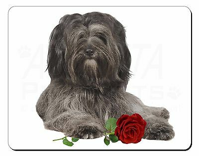 Tibetan Terrier with Red Rose Computer Mouse Mat Christmas Gift Idea, AD-TT2RM