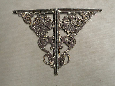Vntg Pair of Small Cast Iron Ornate Shelf Brackets Door Arch Architectural NICE