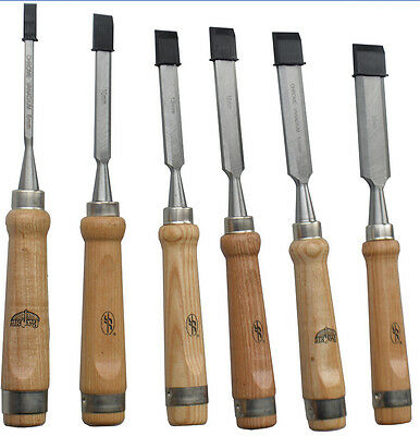 6Pcs Carving Set Wood Flat Chisel Woodworking Tool Tools Handle Hand Woodworking