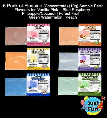 6 x Flavour Pack of Flossine (Concentrate) (7g) Cotton Candy Fairy Floss Sugar