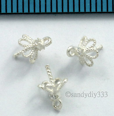 4x BRIGHT STERLING SILVER CZ CRYSTAL PENDANT CLASP PEARL BAIL PIN 5mm CUP #2643