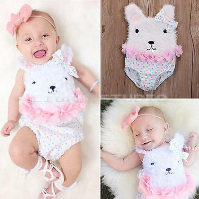 Kids Baby Girls Clothes Lace Tulle Ruffles Bow Bodysuit Romper Jumpsuit Outfits
