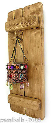 Rustic Pallet Wood Wall Sconce Led Tea Light Candle Holder & Moroccan Lantern