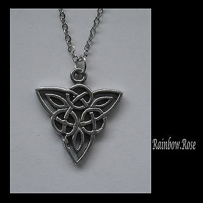 Chain Necklace #2338 Pewter CELTIC KNOT TRIANGLE (19mm x 21mm)