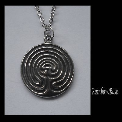 Chain Necklace #2341 Pewter LABYRINTH (21mm x 18mm) SPIRITUAL JOURNEY