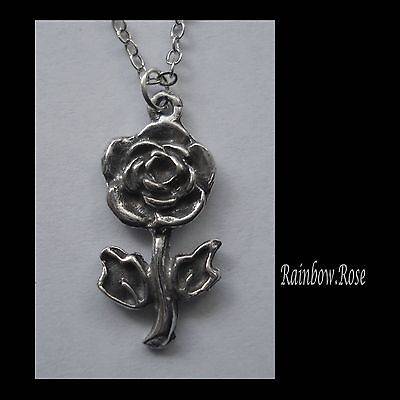 Chain Necklace #2410 Pewter ROSE FLOWER (24mm x 10mm)