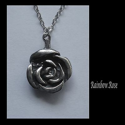 Chain Necklace #2426 Pewter ROSE FLOWER (18mm x 14mm)