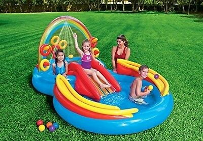 Intex Rainbow Ring Fun Inflatable Play Center Set Outdoor with Water Sprayer