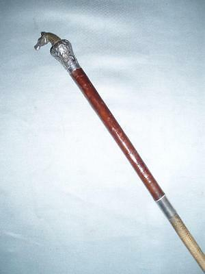 Antique Hallmarked Silver Plate Horse Head Riding Crop/whip (Callow)