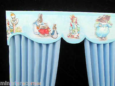 Dolls House Curtains 1/12th scale Nursery Blue Matching wallpaper available 5 in