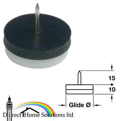 diameter 15-30 mm Hafele Pin Type Glide White Plastic with Black Rubber Layer