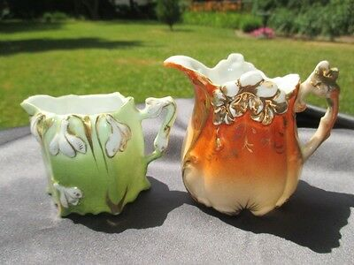 2 Prussia Related Breakfast Mini Creamers Snowdrops In Green Poppy In Red Flame