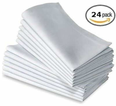 "Cotton Craft Napkins, 24 Pack Oversized Dinner Napkins 20x20"" White, 100% Cotton"
