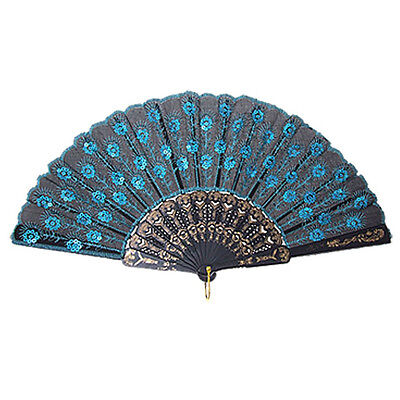 5X(Chinese Japanese Folding Peacock Hand Fan Bead Fabric US Seller Decor New HY