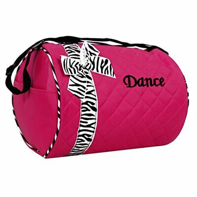 Girls Quilted Nylon Dance Duffle Bag Pink with Zebra Bow