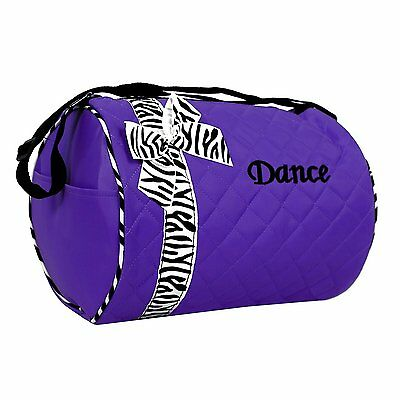 Girls Dance Duffle Shoulder Bag Purple with Zebra Print Bow