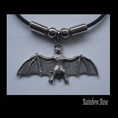 Choker #1061 FLYING BAT (41mm x 24mm) GOTH Rubber Silicon Necklace UNISEX