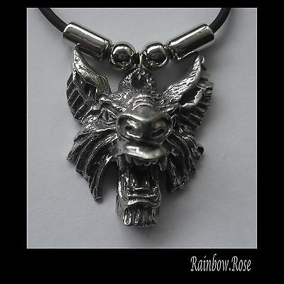 Choker #1069 WEREWOLF HEAD (33mm x 30mm) GOTH Rubber Necklace Unisex