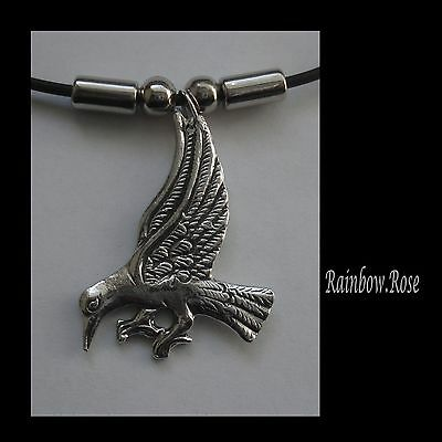 Choker #1152 RAVEN / CROW (36mm x 27mm) BIRD Rubber Necklace Unisex PENDANT