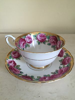 Tuscan Tea Cup And Saucer Pink & Gold Gilt Pattern Teacup  Roses