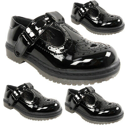 New Girls Childrens Chunky Low Block Heel T Bar Brogue Buckle School Shoes Size