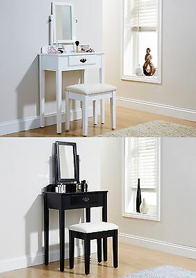 Dressing Table White Black Padded Stool Oval Mirror Drawers 3pc Set Shaker