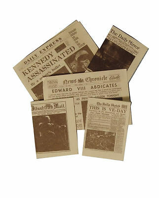 5 Newspapers for a Dolls House, Miniature Papers. 1.12 Scale