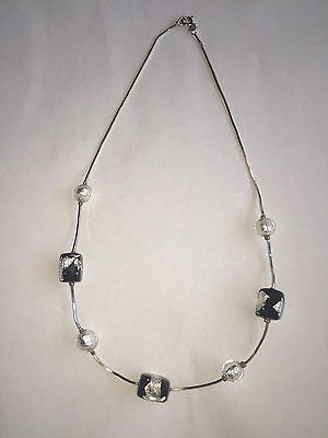 """Beautiful Italian Sterling Silver Necklace with Hand blown Glass Beads 16"""""""