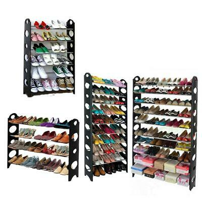 10 Tier 30/50 Pair Space Saving Storage Organizer Free Standing Shoe Tower Rack