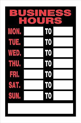 "The Hillman Group 839888 8"" x 12 Inch Fluorescent Plastic Business Hours Sign"