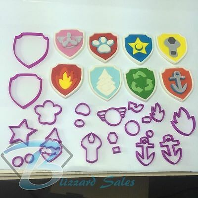 Paw Patrol 8 Badges Buy just 1 or 20Pce Set Cookie Fondant Cutter 5cm 7cm 10cm