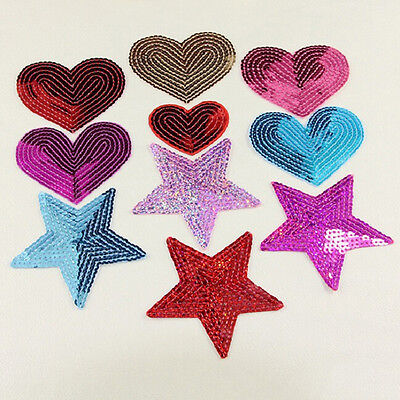 sequins heart motif iron/sew on embroidered patch Cloth badge applique diy 2016