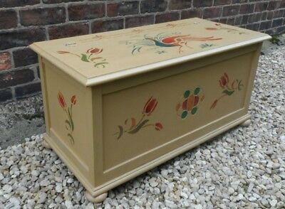 Vintage Oak  Hand painted Bedding  Box.