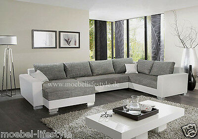 wohnlandschaft im xxl format polsterecke in u form ecksofa sofa in wei grau eur 799 00. Black Bedroom Furniture Sets. Home Design Ideas